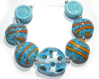 Handmade Glass  Lampwork Beads, Bright Beaches Mix