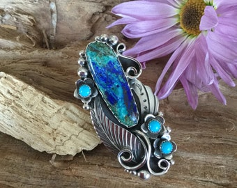 Bluebird Mine Azurite Malachite ring, Artisan Handmade, Sterling Silver, With Sleeping Beauty Turquoise Wildflowers