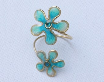 Turquoise flower ring, Floral jewelry, Small gifts, Cheap jewelry, Resin jewelry, Polymer clay ring, Resin flower ring
