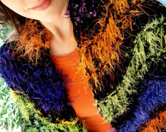 Stripes Scarf Shawl Hand Knit Wrap, Bold Ribbon Shawl in Purples, Greens, Oranges, Chartreuse, Black, Generous Size, Full Fringe