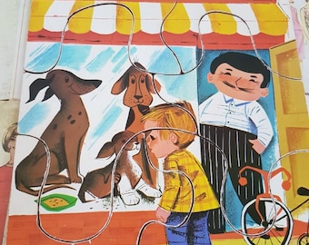 Vintage 1960s Playskool brand jigsaw puzzle petstore puppy dogs bicycle moustache kitsch nursery decor fibreboard complete