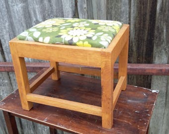 Vintage Retro Upholstered Oak Stool