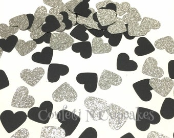 Black and Silver Heart Confetti, New Year Decor, Over the Hill Party confetti, wedding reception, table scatter, confetti balloons, sparkle