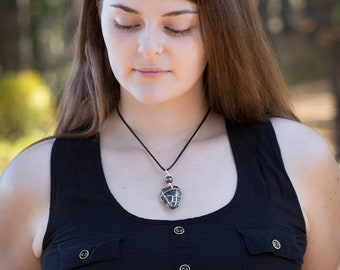 Hematite Necklace - With Hematite Bead - Tumbled Wire Wrapped