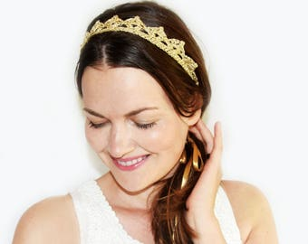 Bohemian Wedding Headpiece, Gold Crown, Lace Crown Headband, Gold Bridal Tiara, Princess Crown, Gold Headband Adult, Gold and Silver Crown