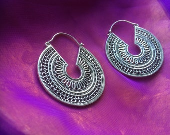 Tribal silver hoop earrings