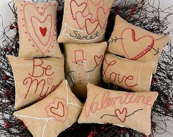 Valentine Mini Pillows ornies bowl fillers E Pattern - email Pdf  heart primitive stitchery embroidery  pinkeep pin cushion tuck
