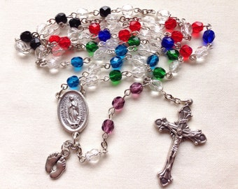 Pro-life Catholic Rosary, Five decade rosary, Handmade rosary, Our Lady of Guadalupe rosary