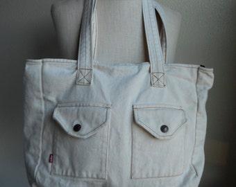 vintage 90s levis red tab bone white denim jean vegan shoulder bag