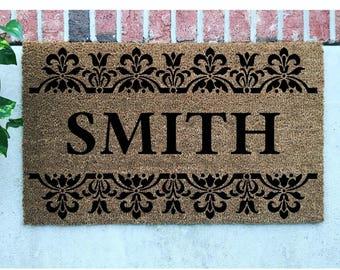 Personalized Door Mat // Hand-Painted Door Mat // Personalized Welcome Mat // Damask Door Mat // Damask Welcome Mat