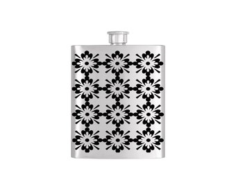 Mosaic Moraccan Bridal Party Bridesmaid Flask Pack with Funnel Stainless Steel 7oz Liquor Hip Flasks - Flask #145