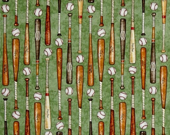 Baseball Bats and Balls on Green from Quilting Treasure's Grand Slam Collection by Dan Morris