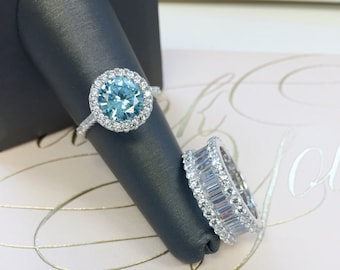3ctw Halo Engagement Ring, Blue Diamond Bridal Ring, Promise Ring, Halo Bridal Fashion Ring, Something Blue, Gift For Her, Classic Celebrity