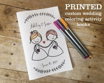 Printed Wedding Coloring Booklet 8 Page Activity Book Customized Woman