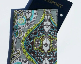 FREE SHIPPING UPGRADE with minimum -  Passport case / passport holder / passport cover : Lime green brown aqua gothic pattern