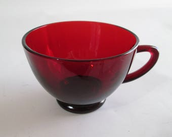 Vintage Anchor Hocking Royal Ruby 5 oz. Punch Cups, Ruby Red Footed 5 Ounce Punch Cups, 12 Available for Separate Purchase, Please See Below