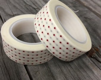 Washi Tape - 15mm - Maroon and Gray Dot Pattern on White - Deco Paper Tape No. 285