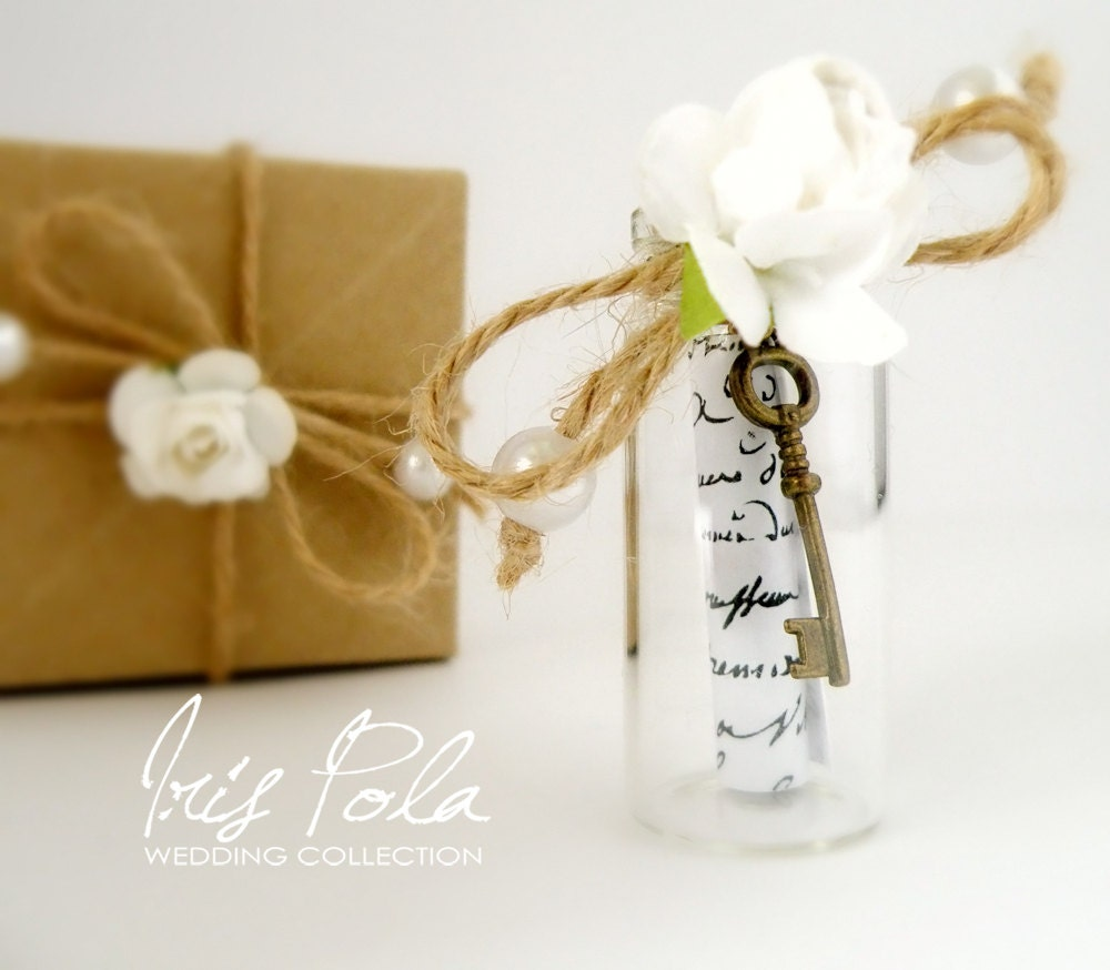 Bridesmaid Secret message Bottle Paper Rose Skeleton Key