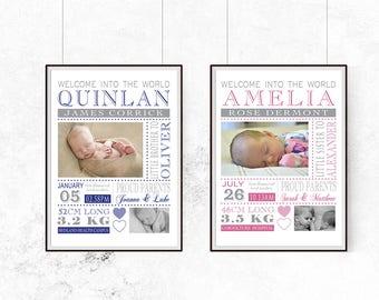 birth print, baby, Birth detail, birth announcement, wall art, newborn keepsake
