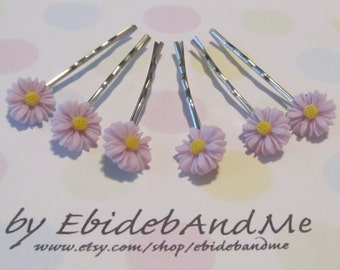 Cute flower bobby pins -set of 12 in light purple - cute hairpin, cute bobbypins, bridesmaid, flower girl, weddings, wedding, flower hairpin