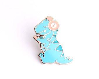 Dino Beats enamel pin (hard enamel pin headphones pin music t rex dinosaur pin vinyl mp3 blue lapel pin badge dinosaur pin backpack pins)