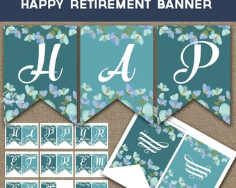 Retirement Banner - Printable Retirement Banner - Teal Floral Retirement Decorations - Turquoise Happy Retire Party Decor TBF