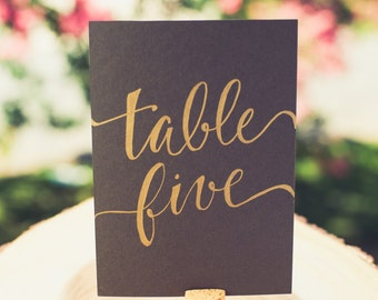 Table Card - Written Out (Grey/Gold)