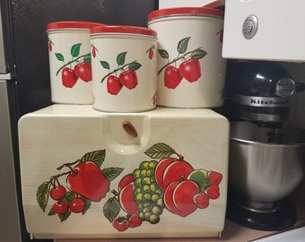 4 piece Rustic red apple canister set/ bread box/tin decoware 1950's kitchen storage