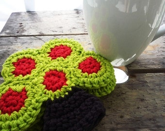 Apple Tree Coaster - Crochet Coaster - Tree Coaster-  Wedding Gift - Gift for Gardeners - Farmhouse Home Decor - Kitchen Decor - Set of 4