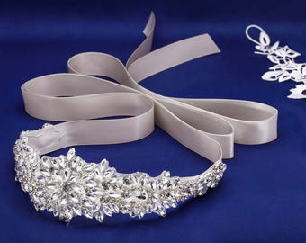 Rhinestone Applique, Crystal Wedding Sash, Bridal Sash, Bridal Belt, Wedding Dress Sash, Bridal Dress Sash,Jeweled Sash Swarovski Sash
