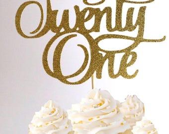 Number 21 gold glitter birthday cake topper 21st birthday