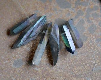6 Titanium Quartz Spike Beads, Mystic Quartz Point Beads, Natural Quartz Sticks, Angel Aura Shard Beads, Drilled Quartz Points, HK16-0616