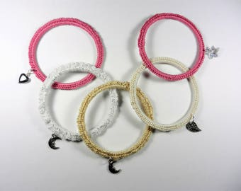 Crochet Bangle with Charm, Crochet Bracelet with Charm, Crochet Jewelry, Bangle with Charm, Crocheted Bracelet, Bangle, Jewelry, Charm