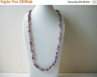 ON SALE Vintage 1960s Ametyst Stone Semi Precious Stone Chips No Clasp 34 Inch Long Necklace 91417