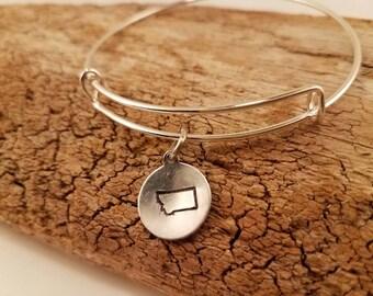 Montana  gift.  Bangle bracelet. MT state gift. Montana  jewelry. Going away gift. High school graduation. Girlfriend gift.  Wife gift.