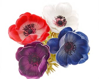 Stemple's Anemones -  Real Touch Artificial Anemones - Available in Red & White, White, Navy and Plum Purple