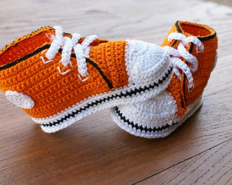 Orange with Black Outline Converse Inspired Thread Crochet Baby Shoes