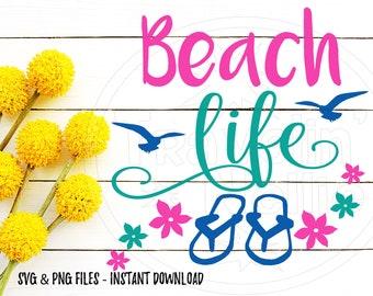 Beach Life SVG, Flip Flops SVG, Beach SVG, Tropical svg, Vacation svg, Cruise svg, Vector File, Svg for Cricut, Svg Cut File, Svg for Cricut