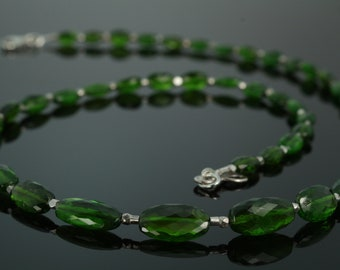 Chrome Diopside Beaded Necklace with Silver Karen Hill Tribe Beads