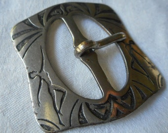 VINTAGE Dancing Woman Silver Metal Slide Belt Buckle