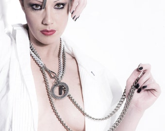 Punk Necklace Multi Chain w. Big Metal Ring - Multi Layer Chain Long Necklace - Cascade Gothic Silver Necklace - Bdsm - PLUTONIAN