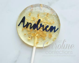 Name Lollipops, Customized Lollipops, Name Candy, Birthday Lollipops, Gift, Sparkle Lollipops, Sweet Caroline Confections-6/Set