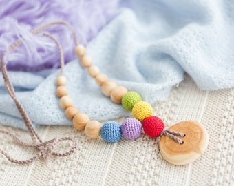 Small Present - Button Rainbow Babywearing Necklace / Breastfeeding Teething Necklaces for mom to wear - Wooden Teether - KangarooCare