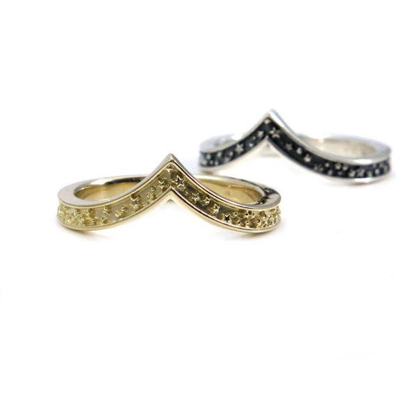 Stardust Stacking Chevron Wedding Ring - Gold or Sterling Silver - Constellation Nesting Band