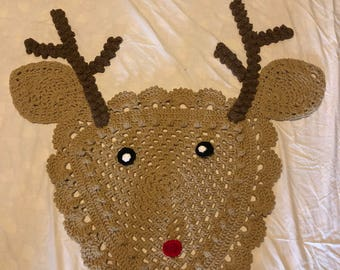 Crocheted Rudolph deer rug