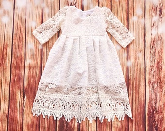 Ivory lace baptismal dress, organic cotton christening dress, christening gown, lace baby girl's baptism gown, ivory church dress,lace dress