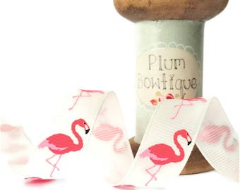 Bright Pink Flamingo Print on Off-White Grosgrain Ribbon, 16mm wide *Sold Per Metre*