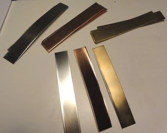 "Brass, Copper, Nickle combo pack 1"" x 6"" strips, 24 ga"