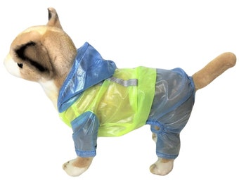 LIGHTWEIGHT Dog Cat RainCoat Hooded WATERPROOF Rainwear Coat Rain Jacket Pants Reflective for SMALL Pet