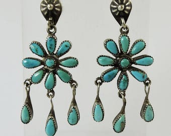 Flower Power Vintage Zuni Indian Turquoise and Silver Dangling Earrings